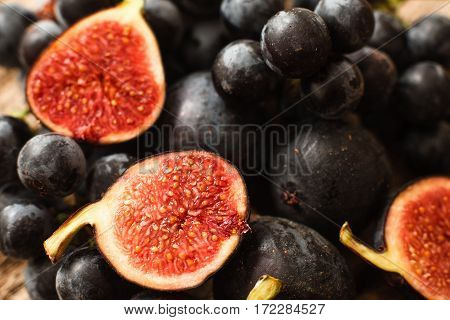 Fig Grape Juicy Ripe Autumn Vitamin Gourmet Natural Nutrition Concept