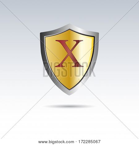 Vector shield initial letter X, isolated illustration on white