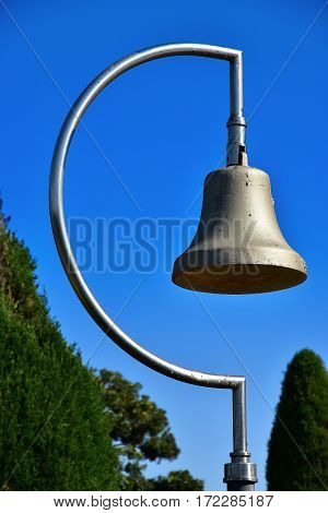 A blue sky and bell of the park