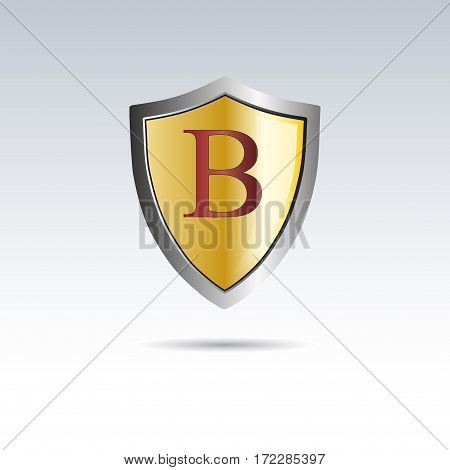 Vector shield initial letter B, isolated illustration on white