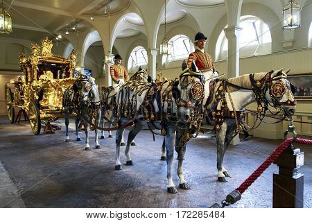 LONDON, GREAT BRITAIN - MAY 17б 2014: This is royal coronation coach in the Royal Mews.