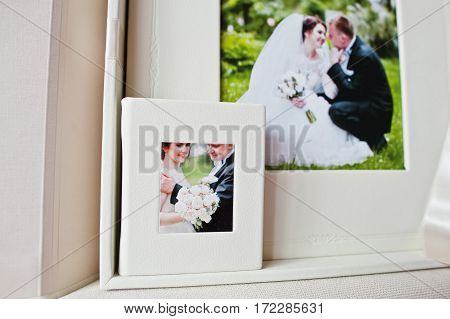 Luxury White Classic Leather Wedding Book With Flash Box.