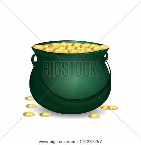 Green leprechaun pot full of gold. Big mythical pot with full gold coins. Vector design element to St. Patrick's Day