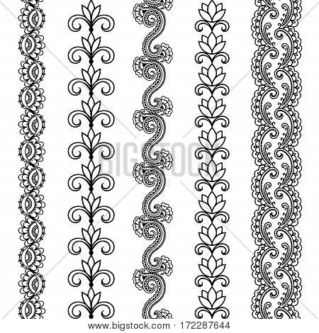 Set of seamless borders for design and application of henna. Mehndi style. Decorative pattern in oriental style.