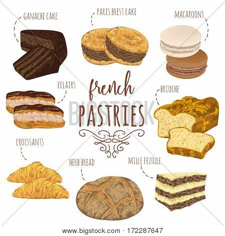 French pastries collection. Brioche, macaroons, croissants, herb bread, eclairs, paris brest, ganache, mille feuille cakes. Isolated elements. Hand drawn vector illustration in watercolor style
