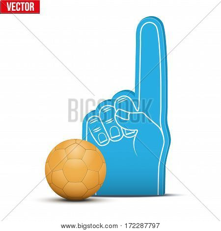 Symbol of Handball Sports Fan Foam Fingers and ball. Vector Illustration Isolated on white background.