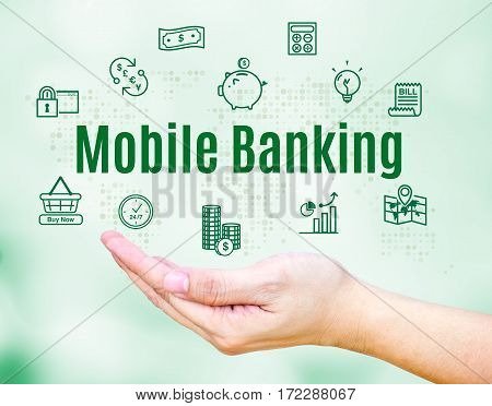 Open Hand With Mobile Banking Word And Feature Icon,internet Banking Concept
