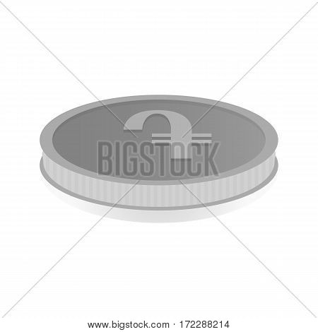 Vector illustration of a silver coin with symbol of amd dram.