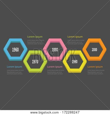 Five step Timeline Infographic. Colorful 3D big polygon segment. Template. Flat design. Black background. Isolated. Vector illustration