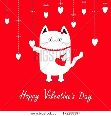 Happy Valentines Day. White cat Hanging white hearts. Dash line. Heart set Cute cartoon character. Kawaii animal. Love Greeting card. Flat design style. Red background. Isolated Vector