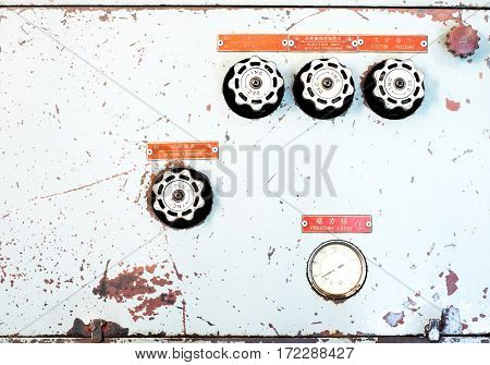 Close Up Rustic Control Panel Of Old Machine,grunge Object