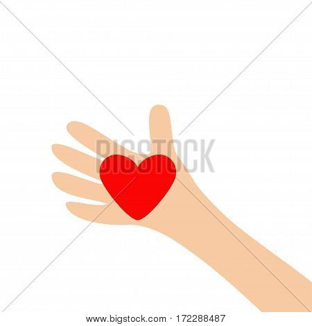 Human hand arm holding red shining heart shape sign. Close up body part. Happy Valentines day. Greeting card. Flat design style. Love soul gift concept White background. Isolated. Vector illustration