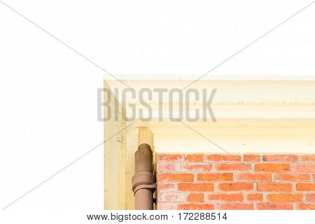 Looking up at brick house isolated on white background.