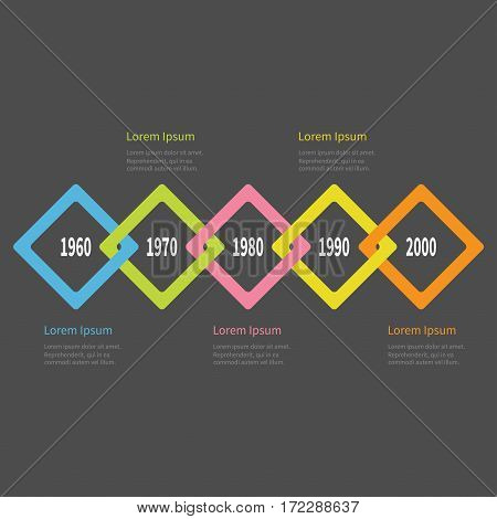 Five step Timeline Infographic. Colorful big rhombus square segment. Template. Flat design. Black background. Isolated. Vector illustration