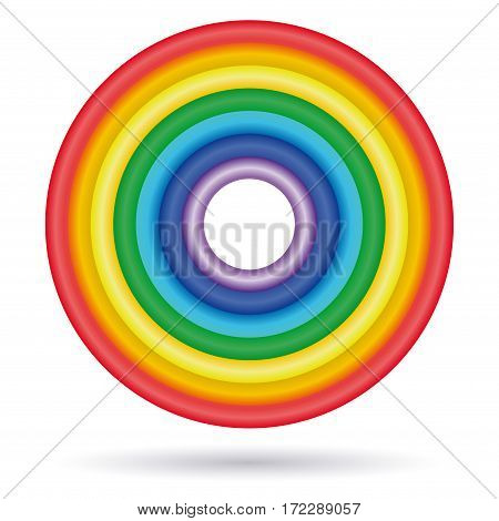 Rings painted in colors of the rainbow. ROYGBIV. Rainbow colored ring isolated on white background. Vector illustration