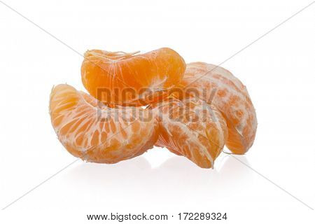 Orange, mandarin, tangerine citrus fruit isolated on white background