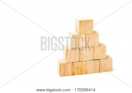 Wood Cube Arrange In Pyramid Shape ,business Concpt