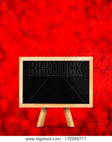 Blackboard With Easel At Red Sparkling Bokeh Light Background,mock Up For Adding Your Content