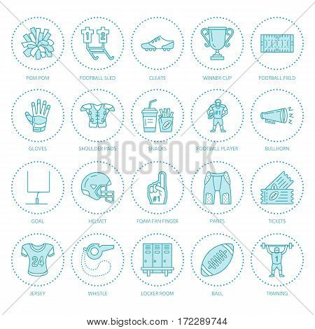 Vector line icons of american football game. Elements - ball, field, player, helmet, bullhorn. Linear signs set, football championship pictogram with editable stroke for sport event, fan store.