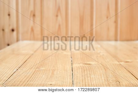 Empty Wood Plank Room With Corner, Texture Background
