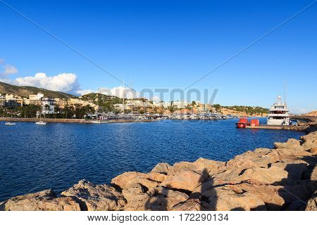 Yacht marina at harbour Puerto Portals in Portals Nous and Mediterranean Sea Majorca Spain