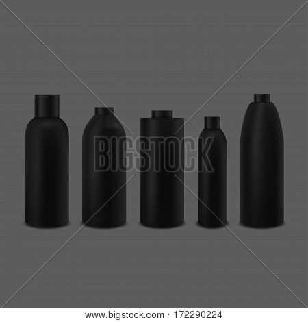 Black bottle set. Package collection for cream, soups, foams, shampoo and other cosmetics