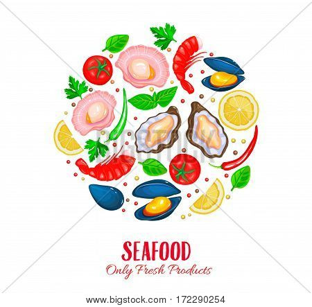 Vector Shellfish poster. Seafood product design. Healthy food cooking concept