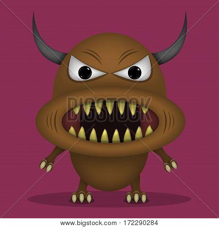 Angry horror monster for animation and comics with sharp teeth. Humor comic animal