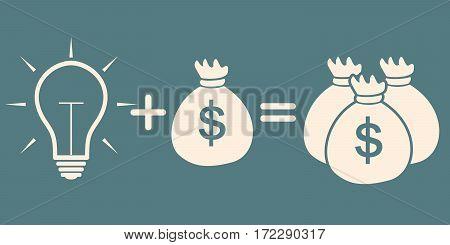 idea concept. light bulb + bag with money = more money