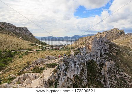 Stairs To Lookout Point Mirador Es Colomer At Cap De Formentor And Port De Pollenca Mountain Panoram