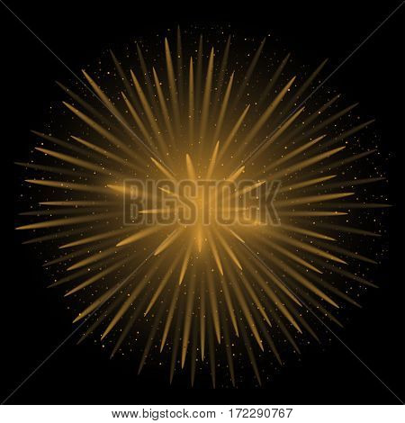 Golden realistic fireworks on the black background, Vector illustration