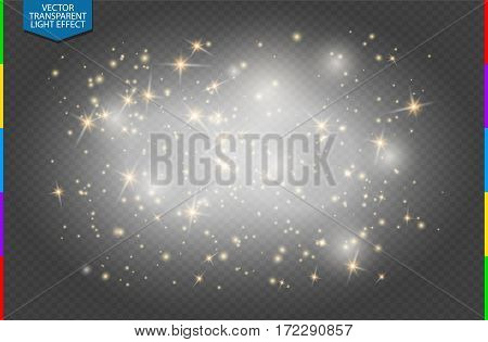 Semitransparent white sparks and golden stars glitter special light effect. Vector sparkles on transparent background. Christmas abstract pattern. Translucent sparkling magic dust particles cloud.