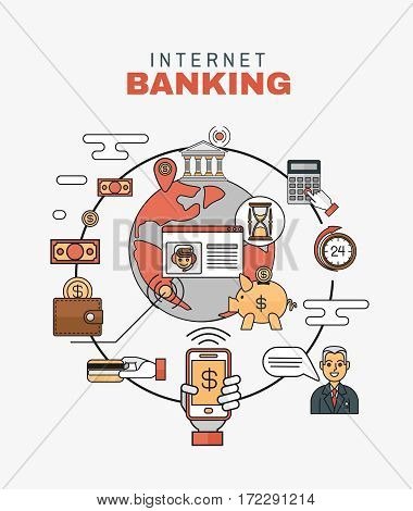 Flat style thin line art design. Set of vector icons and elements of application development, project development. The modern concept of an internet banking
