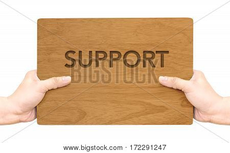 Hand Holding Dark Brown Wood Signboard With Support Word Isolated On White Background,business Conce