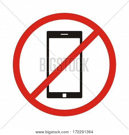 No phone sign. No talking by phone sign. Red prohibition. Vector illustration. Red no call symbol. No talk by phone icon. No Cell Phone.