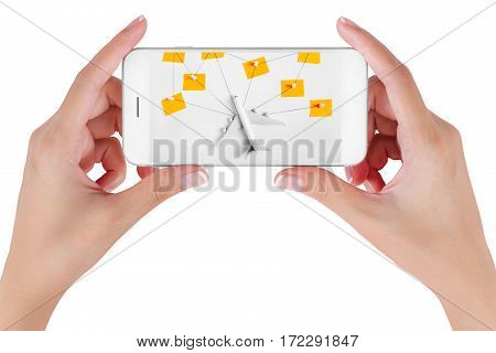 Woman hand using smart phone searching Preparation traveling network with push pin string and paper noted. Travel concepts Isolated on white background.