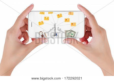 Woman hand using smart phone searching Preparation traveling network with push pin pencil watch money dollar string paper noted. Travel concepts Isolated on white background.