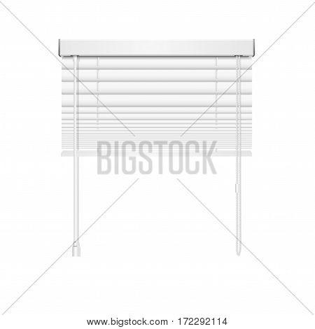 Realistic Blank Jalousie Roller Shutters Blind Open White Horizontal Plate on Window. Vector illustration