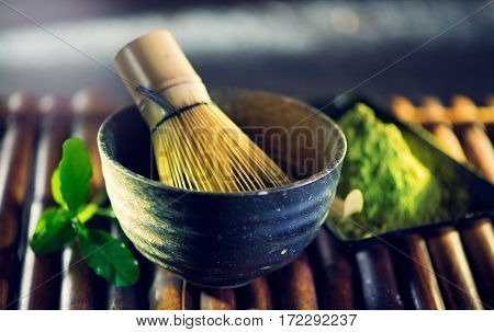 Matcha. Organic Green Matcha Tea ceremony. Matcha powder. Cooking with matcha, vegetarian food recipe