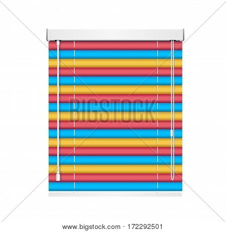 Realistic Color Window Jalousie Roller Shutters Blind Architectural Detail Of The Exterior. Vector illustration