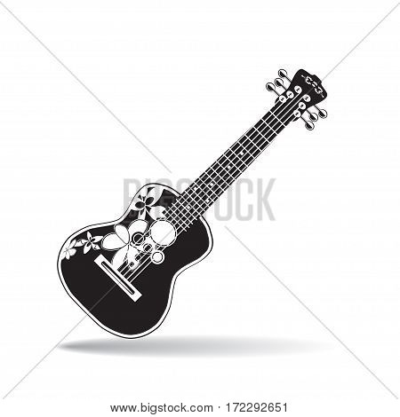 Vector illustration of ukulele isolated on white background. Hawaiian black and white guitar string musical instrument in flat style.