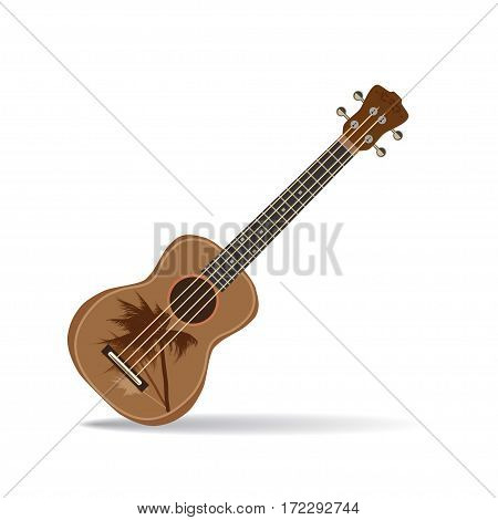 Vector illustration of ukulele isolated on white background. Hawaiian guitar string musical instrument in flat style.