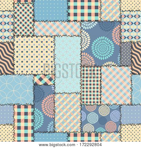 Seamless background pattern. Blue retro patchwork of a rectangles