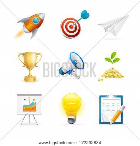 Start Up Icon Color Set for Web Design and Presentations. Vector illustration