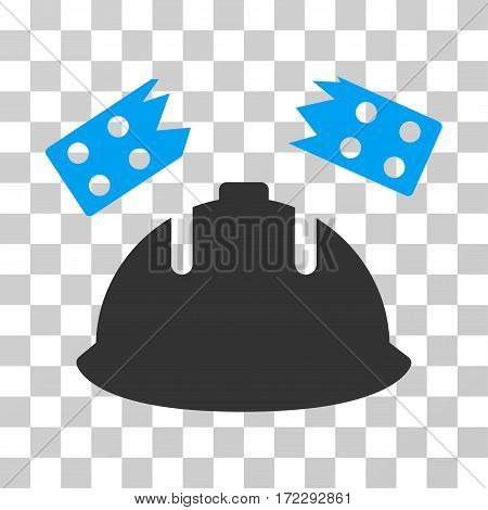 Brick Helmet Accident vector pictogram. Illustration style is flat iconic bicolor blue and gray symbol on a transparent background.