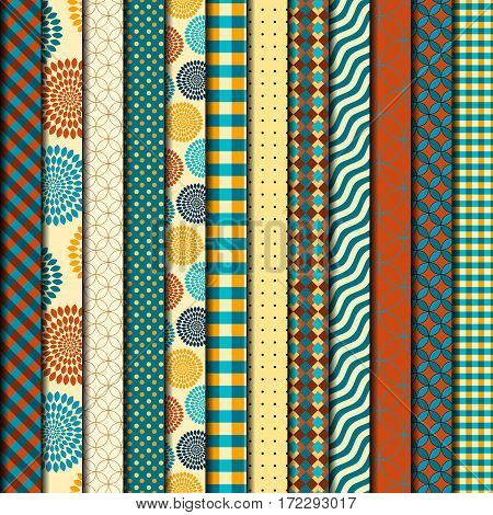 Seamless background pattern. Brown retro patchwork of a relief strips