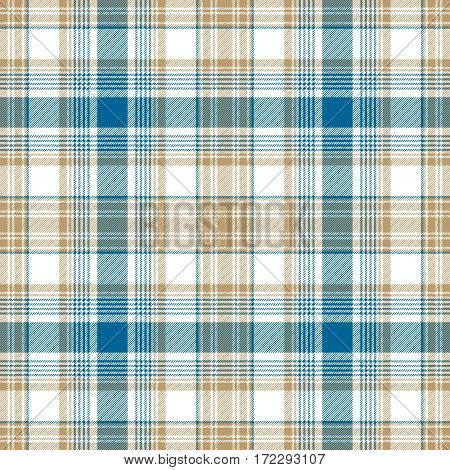 Blue gold white check fabric texture seamless pattern. Vector illustration.