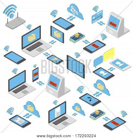 Set of different wireless mobile devices buying on the internet for sale. Isometric vector illustration