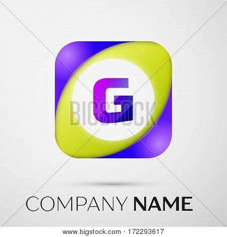 Letter G vector logo symbol in the colorful square on grey background. Vector template for your design