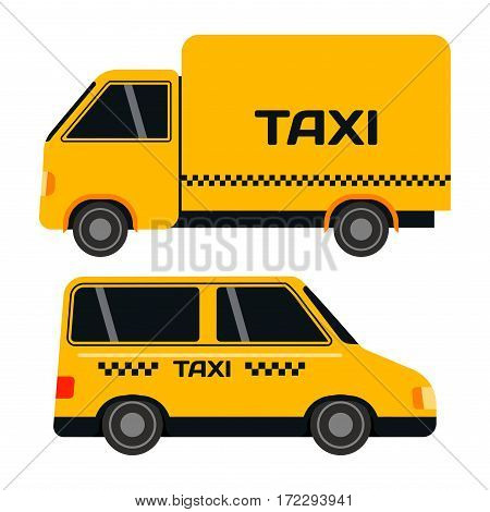City transport and public industry taxi bus. Vector flat illustrations traffic vehicle street tourism modern business truck. Cityscape business travel way.